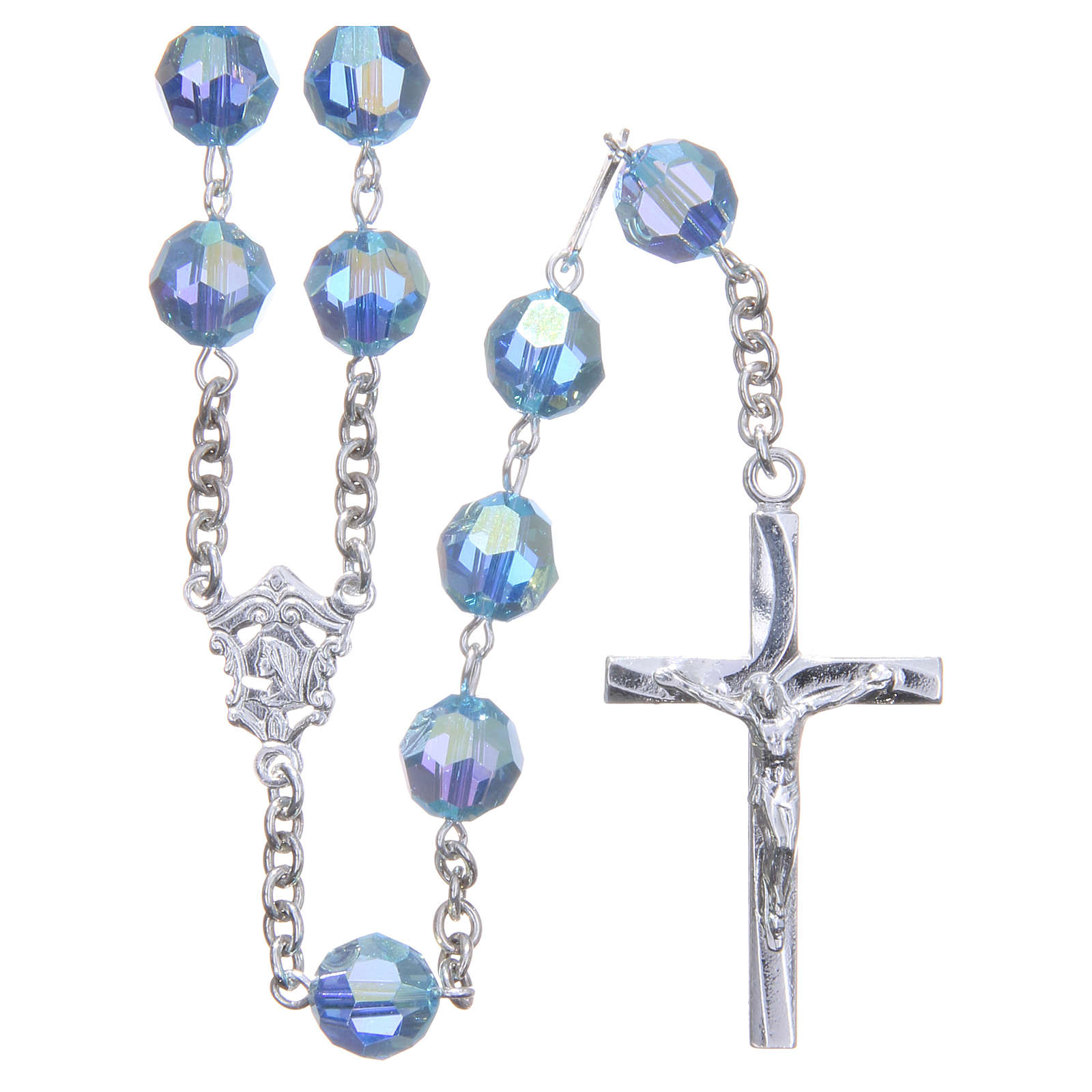 Rosary in 800 silver and sky blue Swarowski crystal grains measuring 8mm 4