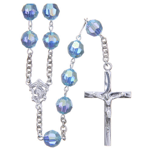 Rosary in 800 silver and sky blue Swarowski crystal grains measuring 8mm 1