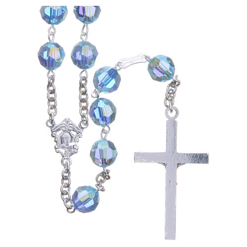 Rosary in 800 silver and sky blue Swarowski crystal grains measuring 8mm 2