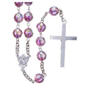 Rosenkranz aus 925er Silber und Perlen aus rosafarbenen 8 mm Swarovski-Kristallen s2