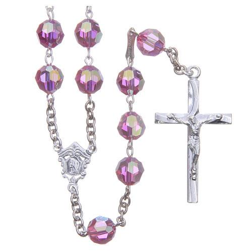 Rosenkranz aus 925er Silber und Perlen aus rosafarbenen 8 mm Swarovski-Kristallen 1