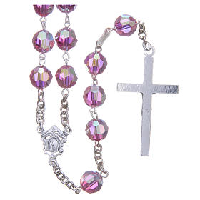 Terço prata 800 cristal Swarovski cor-de-rosa 8 mm s2