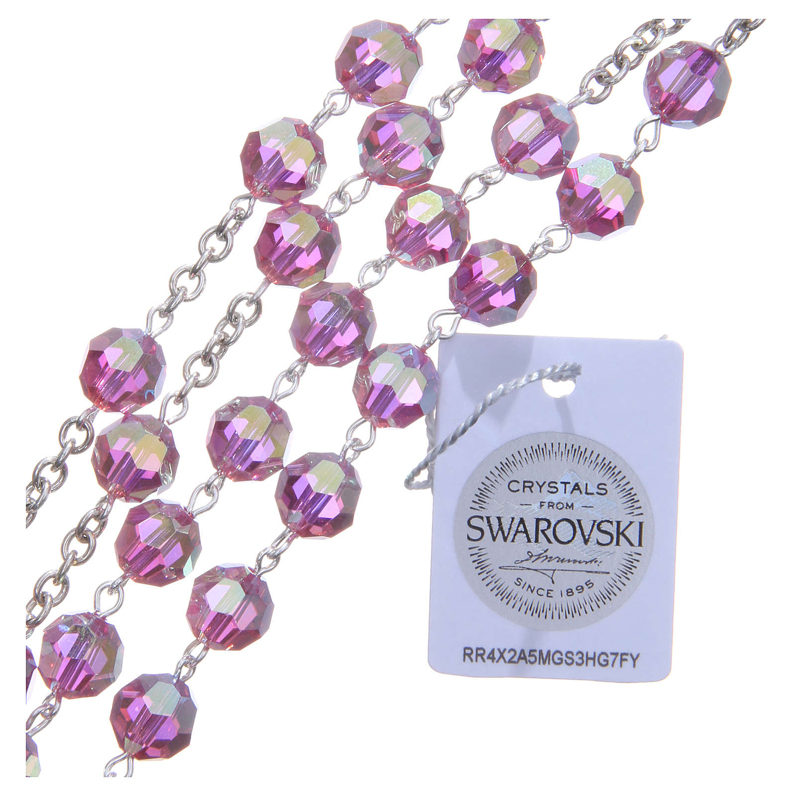 Rosary in 800 silver and pink Swarowski crystal grains measuring 8mm 4