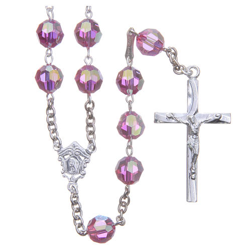 Rosary in 800 silver and pink Swarowski crystal grains measuring 8mm 1