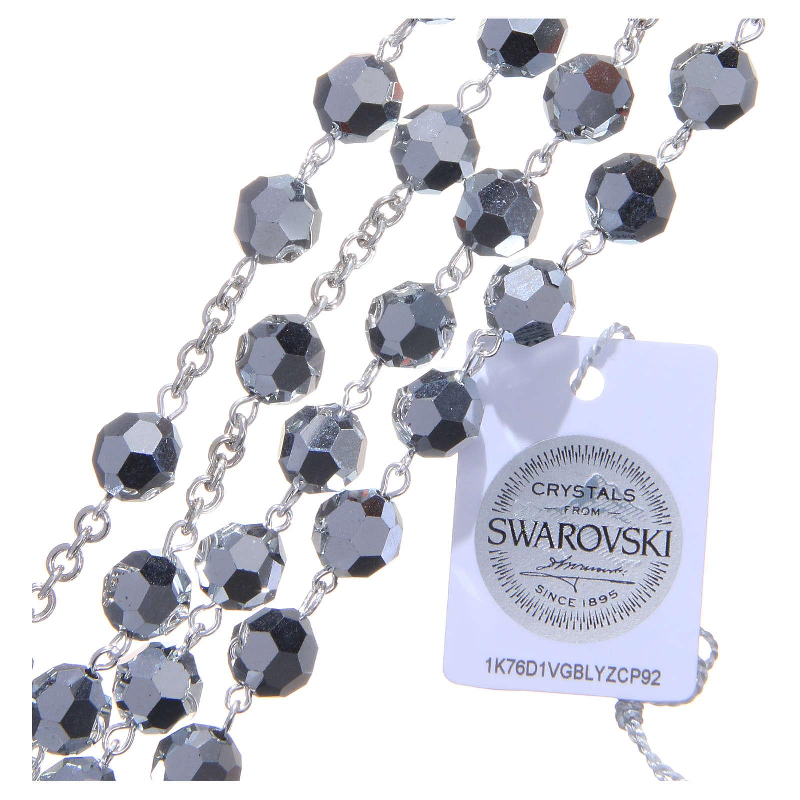 Rosenkranz aus 925er Silber und Perlen aus grauen 8 mm Swarovski-Kristallen 4