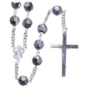 Rosary in 800 silver and metallic Swarowski crystal grains measuring 8mm s2