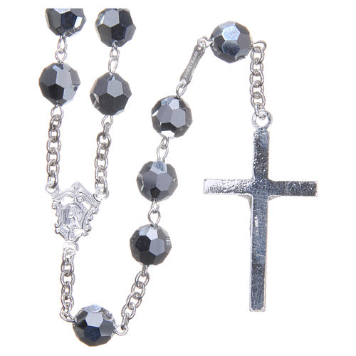 Rosary in 800 silver and metallic Swarowski crystal grains measuring 8mm 2