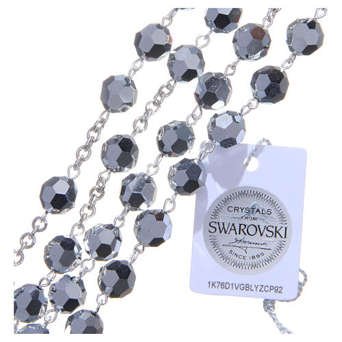 Rosary in 800 silver and metallic Swarowski crystal grains measuring 8mm 3