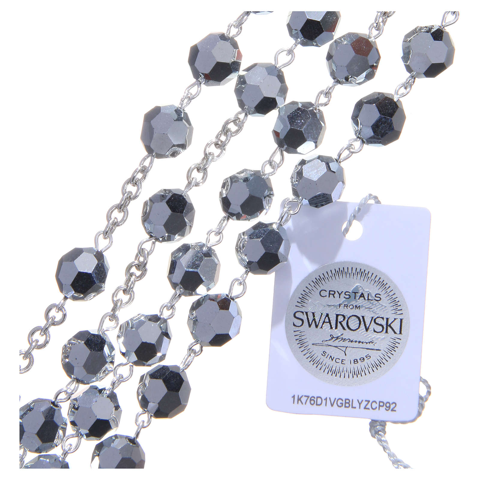 Chapelet argent 800 cristal Swarovski métallisé 8 mm 4