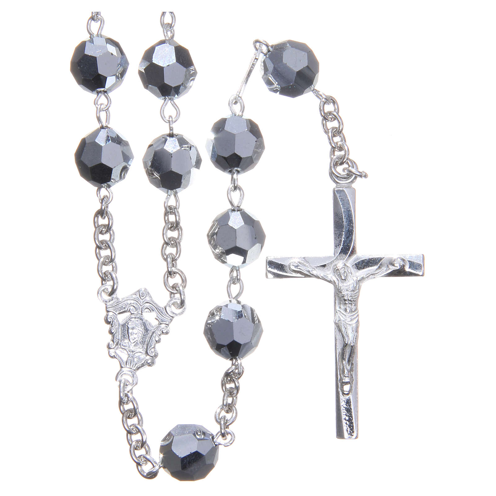 Rosary in 800 silver and metallic Swarowski crystal grains measuring 8mm 4