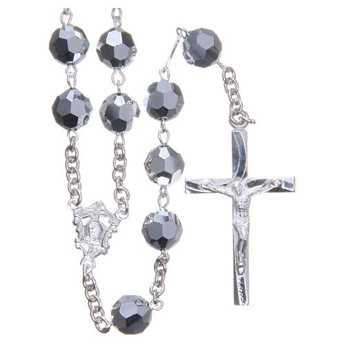 Rosary in 800 silver and metallic Swarowski crystal grains measuring 8mm 1