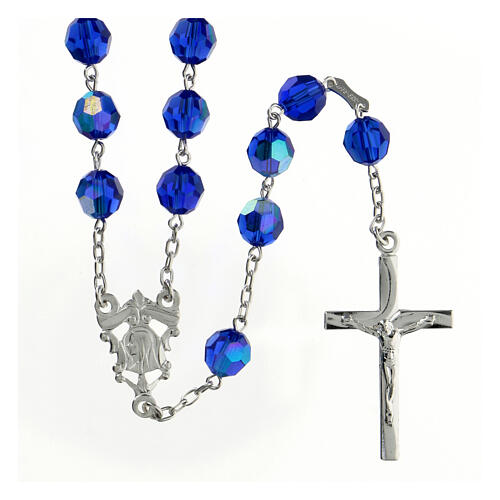 Rosary in 800 silver and blue Swarowski crystal grains measuring 8mm 1