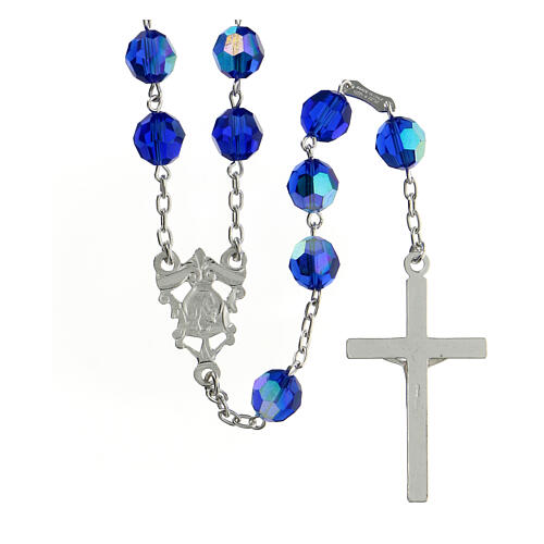 Rosary in 800 silver and blue Swarowski crystal grains measuring 8mm 2