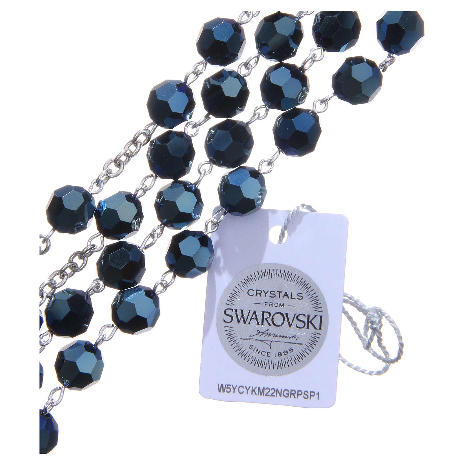 Terço prata 800 cristal Swarovski azul escuro 8 mm 4