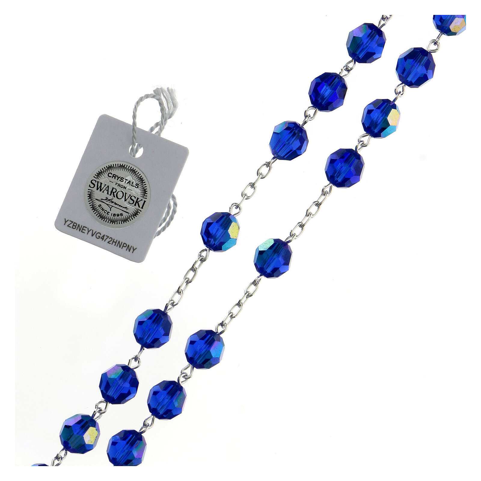 Rosary in 800 silver and blue Swarowski crystal grains measuring 8mm 4