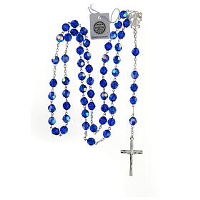 Rosary in 800 silver and blue Swarowski crystal grains measuring 8mm s4