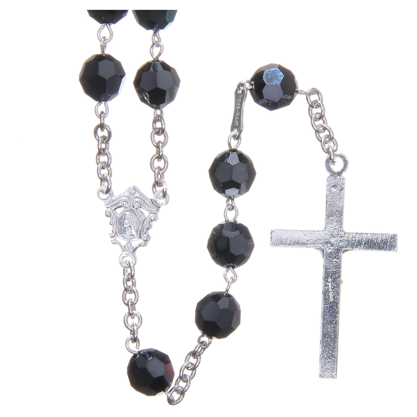 Rosary in 800 silver and black Swarowski crystal grains measuring 8mm 4