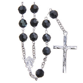 Rosary in 800 silver and black Swarowski crystal grains measuring 8mm s1