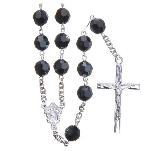 Rosary in 800 silver and black Swarowski crystal grains measuring 8mm 1