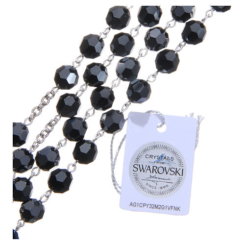 Rosary in 800 silver and black Swarowski crystal grains measuring 8mm 3