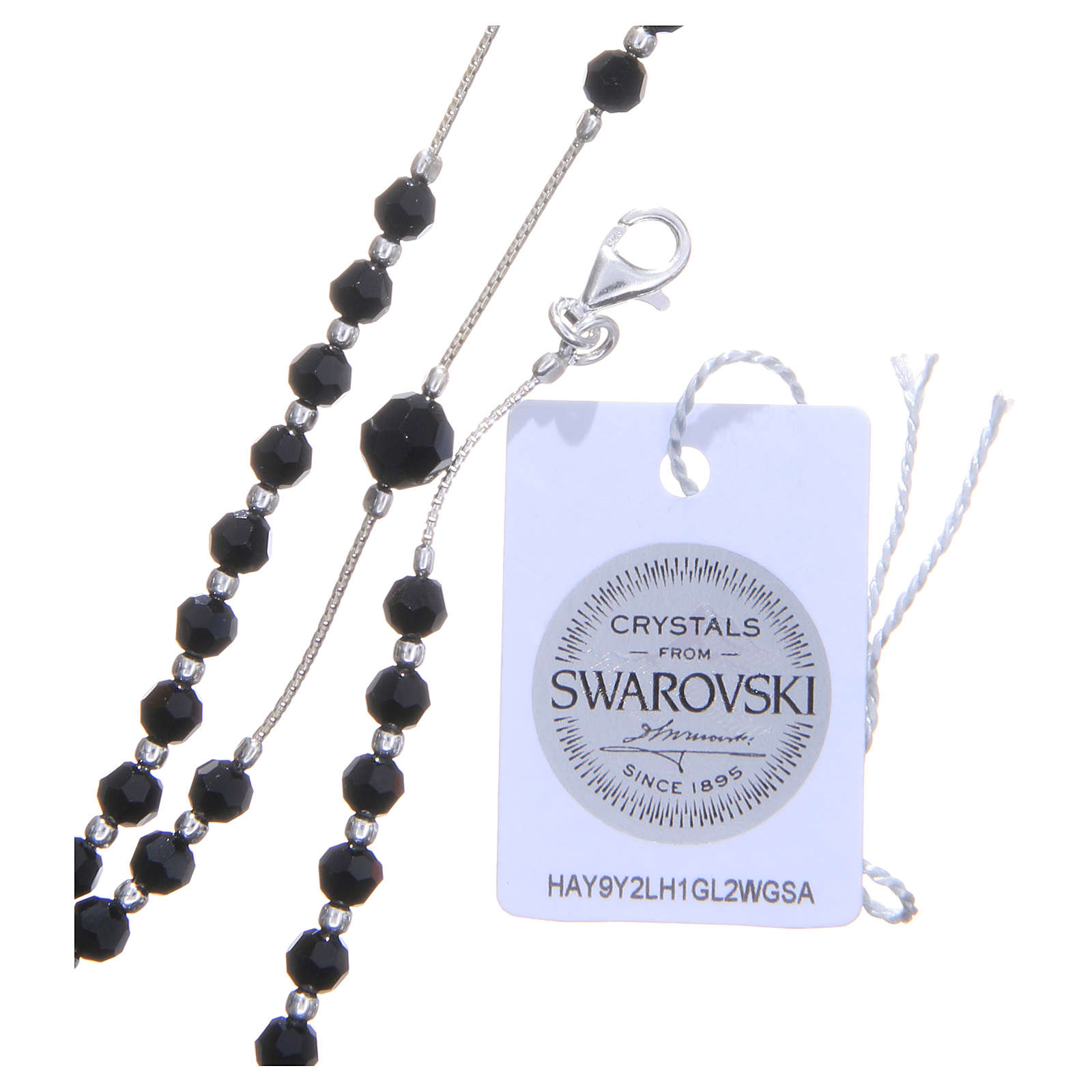 Rosary beads in 925 silver and Swarowski crystal grains measuring 4mm 4