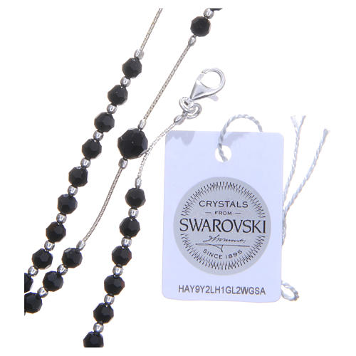 Rosary beads in 925 silver and Swarowski crystal grains measuring 4mm 3