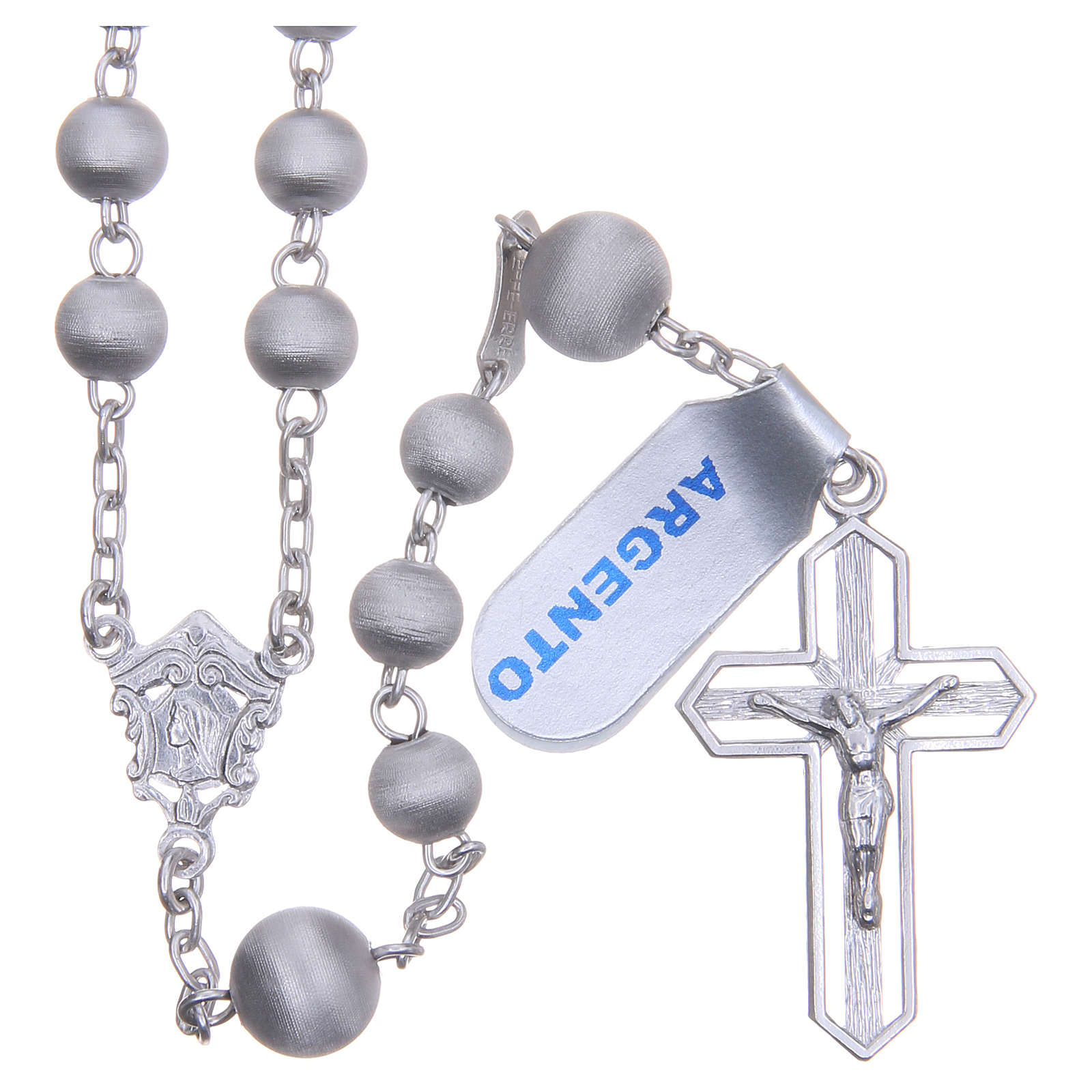 Rosary beads in 925 silver with satin grains measuring 6mm 4