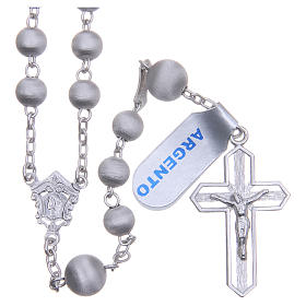 Rosary beads in 925 silver with satin grains measuring 6mm s1