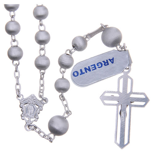 Rosary beads in 925 silver with satin grains measuring 6mm 2