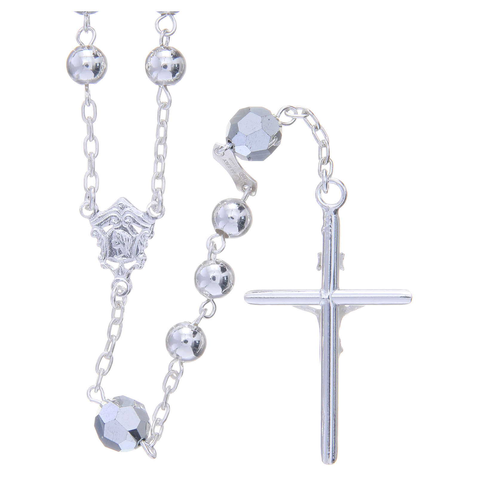 Rosary beads in 800 silver, 6mm and pater beads in metallic Swarovski 4