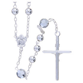 Rosary beads in 800 silver, 6mm and pater beads in metallic Swarovski s2