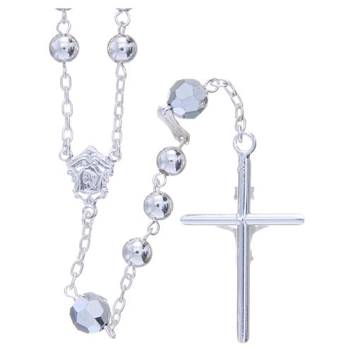 Rosary beads in 800 silver, 6mm and pater beads in metallic Swarovski 2