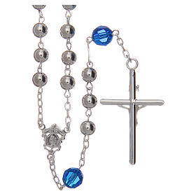 Rosary beads in 800 silver, 6mm and pater beads in blue Swarovski s2