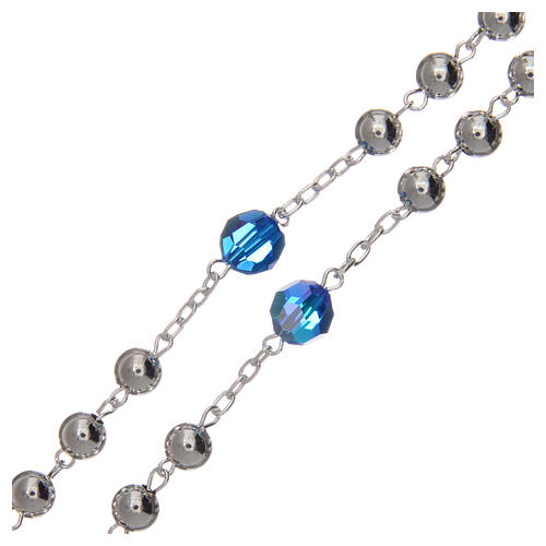 Rosary beads in 800 silver, 6mm and pater beads in blue Swarovski 3