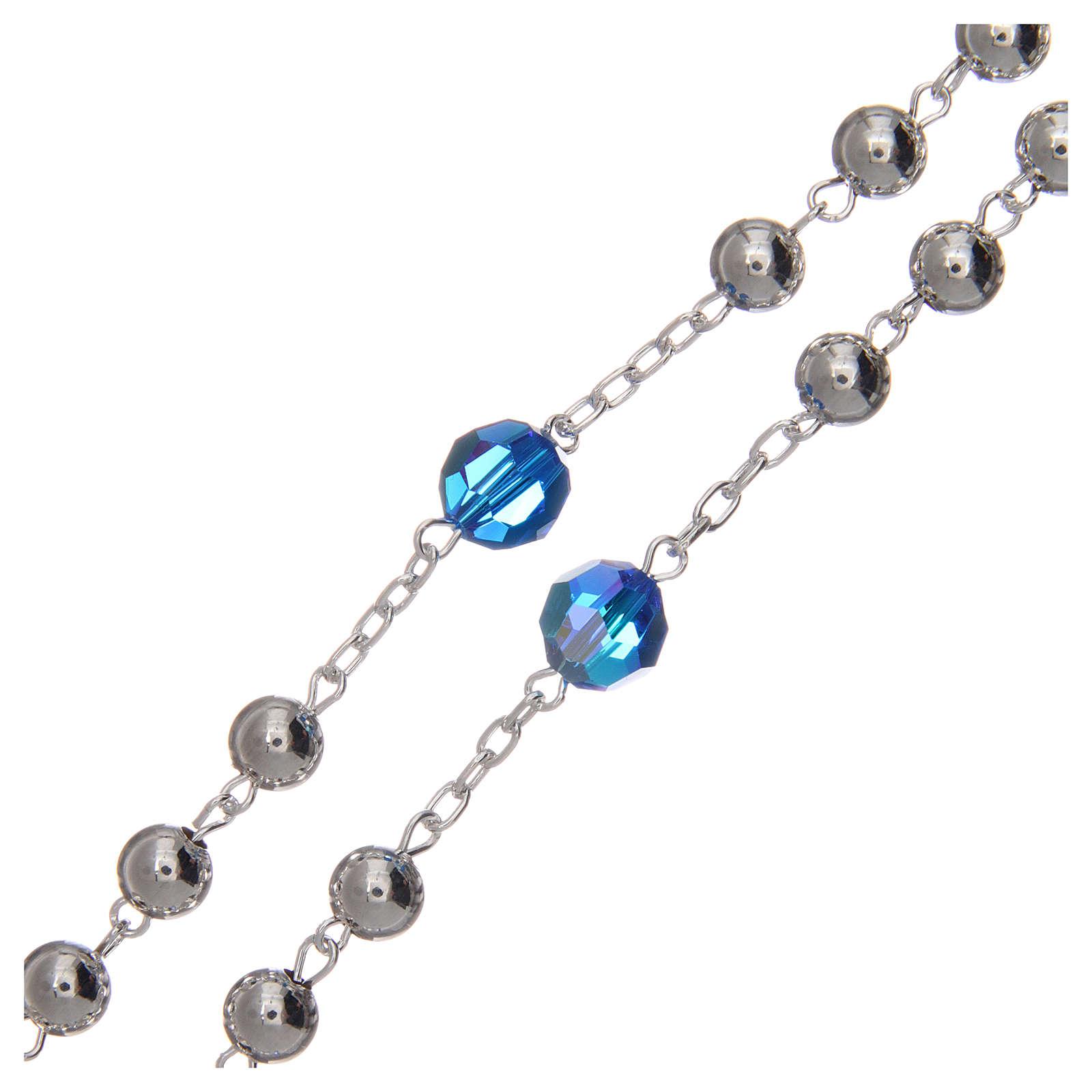 Rosario argento 800 6 mm pater Swarovski blu 4