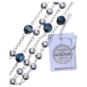 Rosario argento 800 6 mm pater Swarovski blu s3