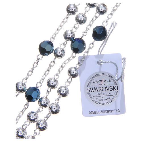 Rosario argento 800 6 mm pater Swarovski blu 3