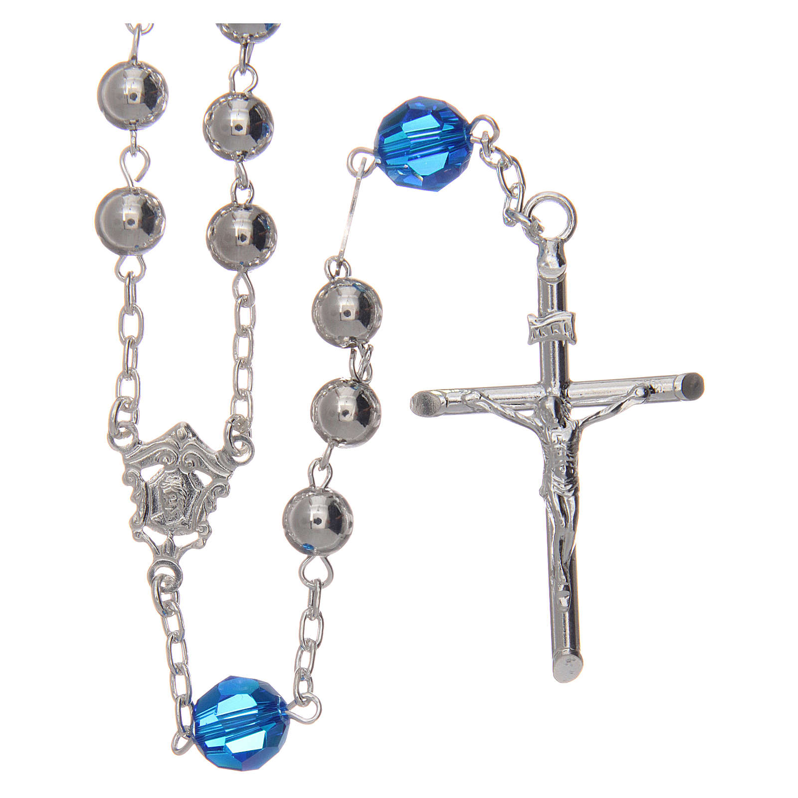 Rosary beads in 800 silver, 6mm and pater beads in blue Swarovski 4