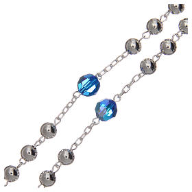 Rosary beads in 800 silver, 6mm and pater beads in blue Swarovski s3