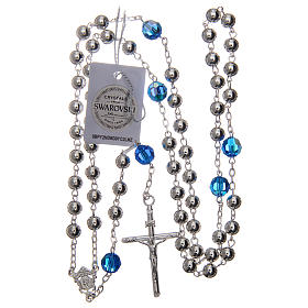 Rosary beads in 800 silver, 6mm and pater beads in blue Swarovski s4