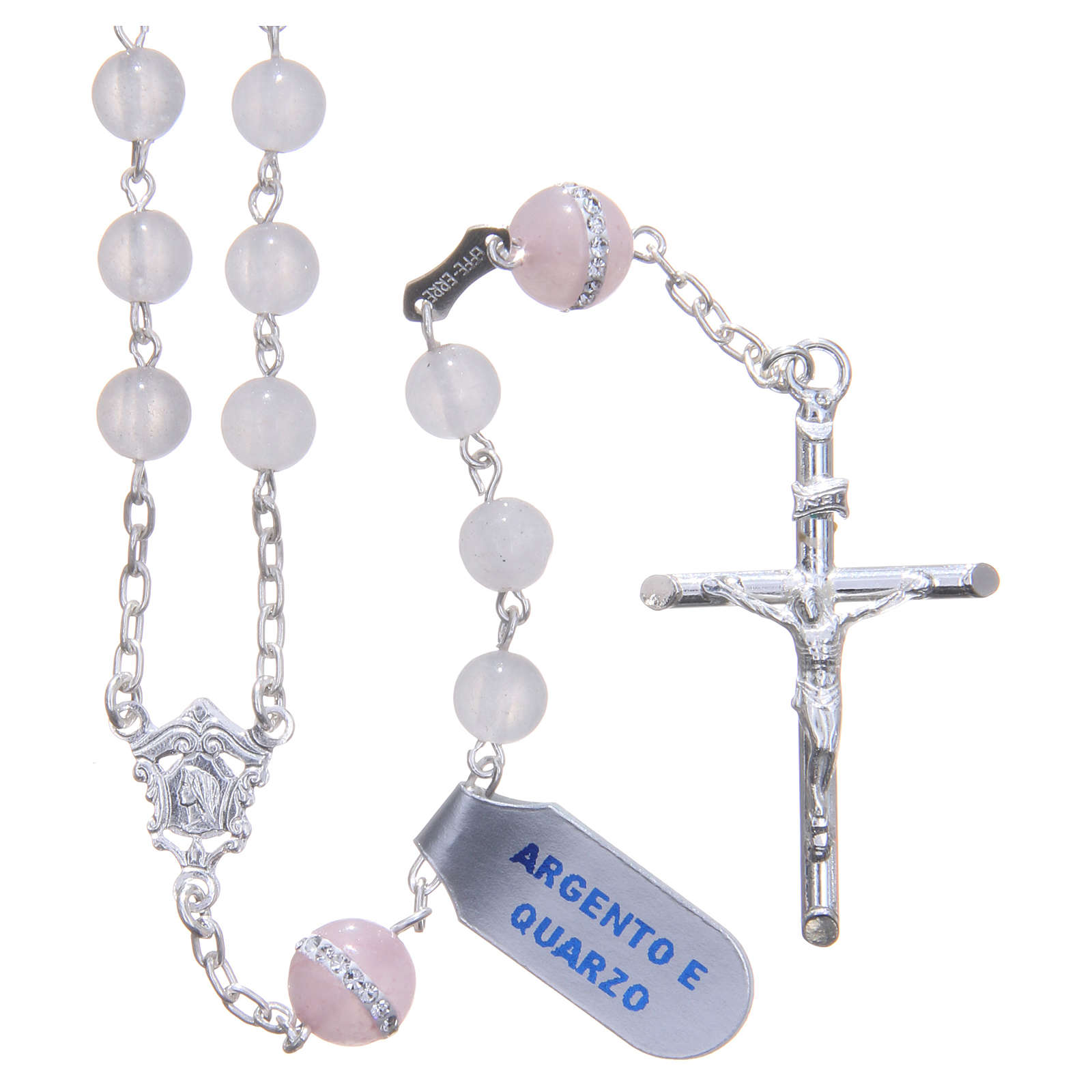 Rosary beads in 925 silver, with grains in rose quartz 4