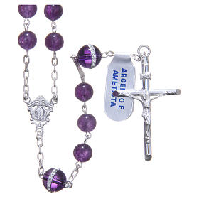 Rosary beads in 925 silver, with grains in amethyst s1