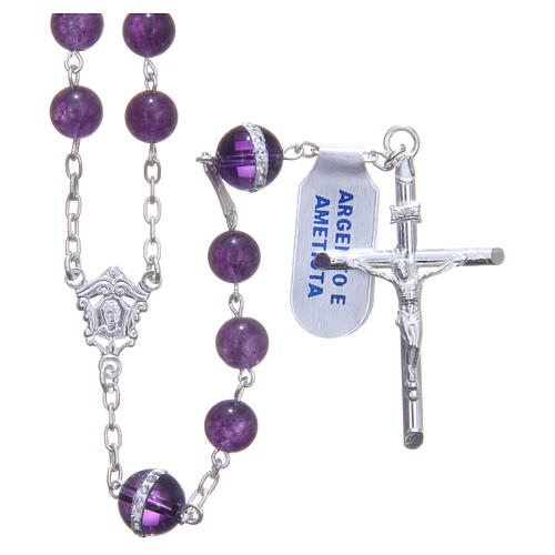 Rosary beads in 925 silver, with grains in amethyst 1