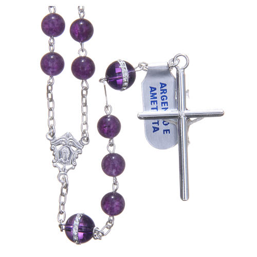 Rosary beads in 925 silver, with grains in amethyst 2