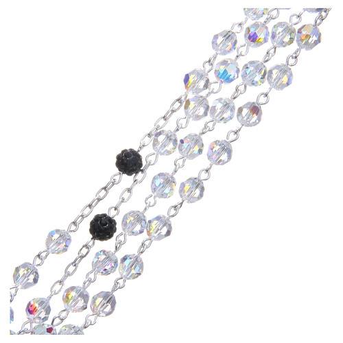 Rosario argento 800 cristallo Swarovski nero 6 mm 3