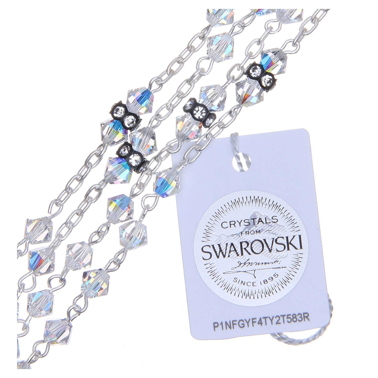 Rosario argento 800 pater cristallo Swarovski 5 mm bianco 4