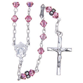 Silver rosary beads with Pater beads in pink Swarovski 5mm s1