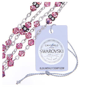 Silver rosary beads with Pater beads in pink Swarovski 5mm s3