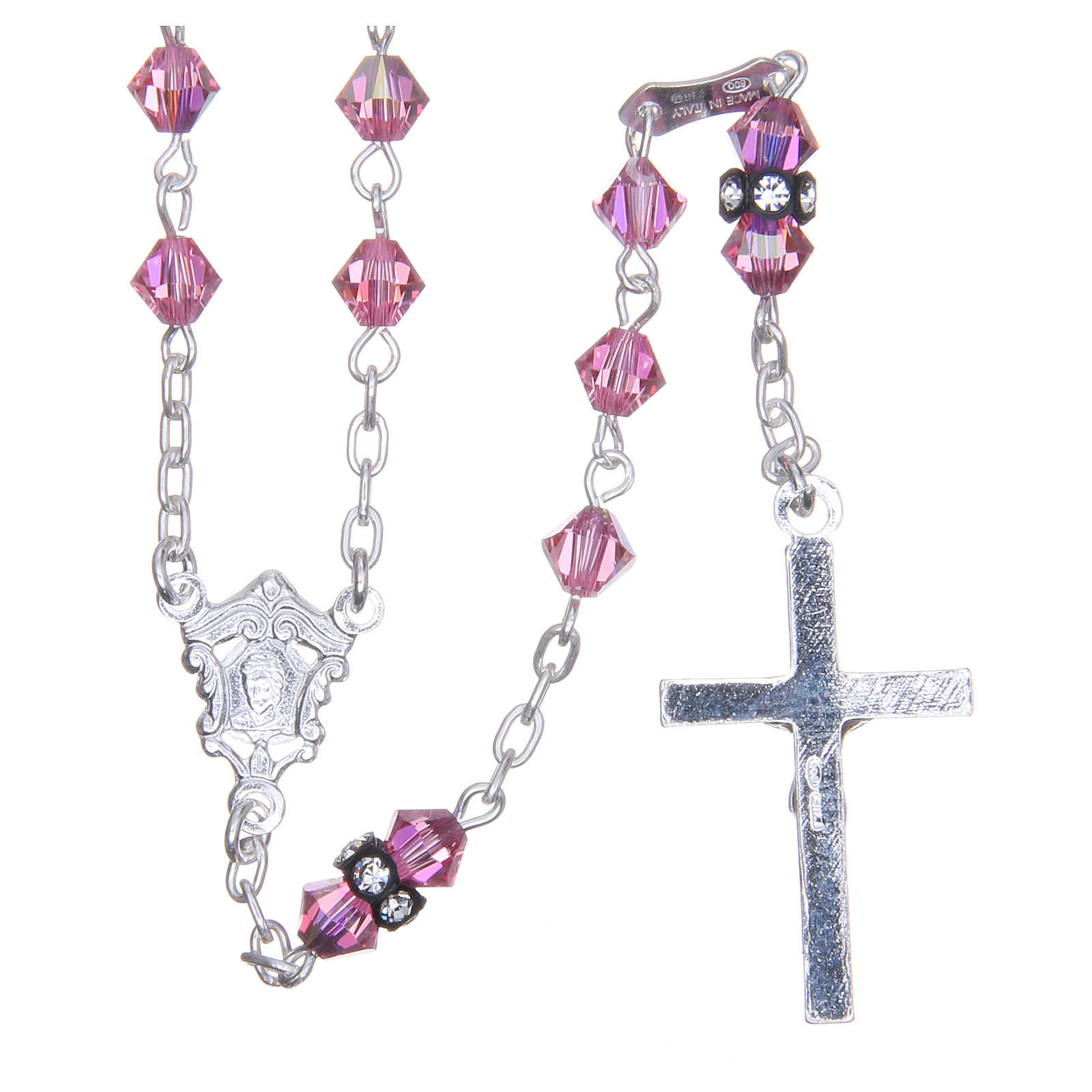 Silver rosary beads with Pater beads in pink Swarovski 5mm 4