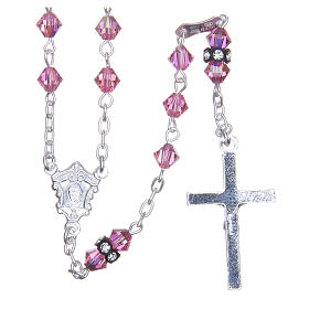 Silver rosary beads with Pater beads in pink Swarovski 5mm s2
